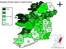 Irish Clan Numbers by County
