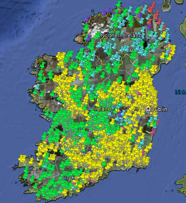 Castles In Ireland Map Castles of Ireland illustrates the extent of Norman settlement in