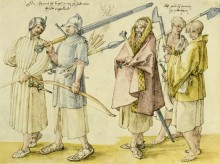 Three Gallowglass (two with Claymore's) and two barefoot Kern (Irish foot soldiers) as depicted in a watercolour by Albrecht Dürer in 1521